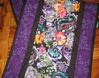 Table Runner, Purple, Blue, Orange Pink Paisley and Lace, Paisley Table Runner, Purple Runner, Reversible Runner, Handmade Quilt