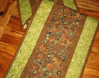 Pine Cones Mountain Cabin Rustic Quilted Table Runner, Brown Pine Cones and Pine Boughs,  Fall Reversible Runner, Handmade TahoeQuilts