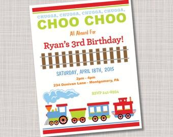 Custom Choo Choo Train Birthday Party Invitations