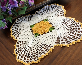 Vintage Art Deco, Sunrise Doily, Orange Raised Center, Vintage Doilies 13417