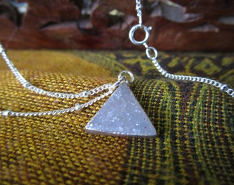 Triangle Druzy Sterling Silver Necklace