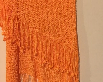 Golden Orange Wedding  silk Shawl  triangle shawl Silk capalet  wrap for special mom brides mom Hand Crocheted by mcleodhandcratgifts