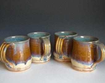 Hand thrown stoneware pottery mugs set of 4  (M-26)