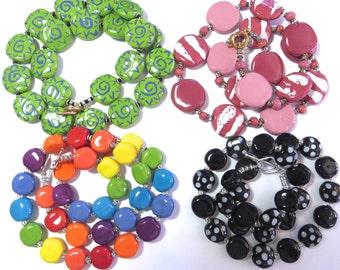 Ceramic Necklace Clearance, Kazuri Necklaces, Four Clearance Necklaces