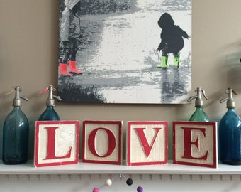On Sale - LOVE Alphabet Block Letters Wall Art Hand Painted Sign by Barn Owl Primitives
