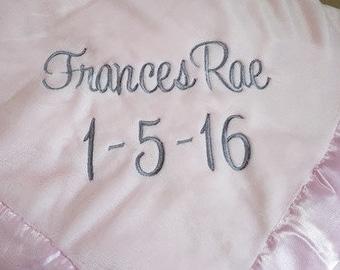 Monogrammed Pink Baby Blanket