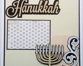 Hanukkah scrapbook layout - Premade scrapbook page - 12x12 scrapbook page premade - Premade Hanukkah scrapbook page -Scrapbook page Hanukkah