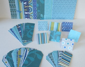 Blue And Green Set of 6x6 Papers Book Marks Gift Cards And Tags