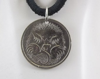 Australian Coin Necklace,  5 Cents, Mens Necklace, Womens Necklace, Coin Pendant, Leather Cord, Birth Year, 1996