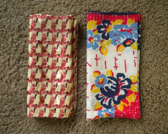 Two Vintage Scarves or Hankies For Quilting Material, Doll Clothes, Etc