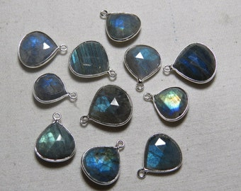 92.5 Sterling Silver - Vermeil -  LABRADORITE - Faceted Heart Shape Full Flashy Fire  - Pendant - size 13 - 17  mm Long  approx -  11 pcs