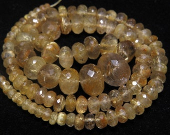 GOLDEN Rutilated Quartz - 172 Ctw - 16 inches - AAAAA - High Quality Natural -  Micro Faceted Rondelle Beads Huge size - 4 - 13 mm approx