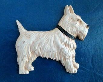 Vintage Westie or Scottie Vinyl Candy Glove Box West Highland / Scottish Terrier Royal Blue Box