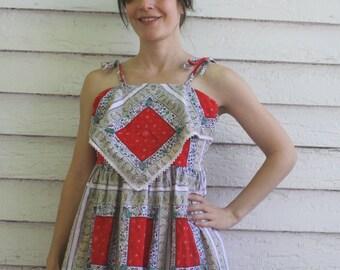 Hippie Mini Dress Retro Bandanna Print Vintage 70s Smocked XS S