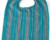 Terry Cloth Adult Bib,Blue Grey Striped Adult Clothing Protector,Absorbent,Dignity Care, Size Large