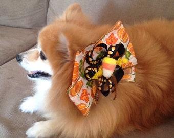 Cute Small Conservative Candy Corn Pumpkin Halloween Bow