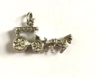 Vintage Sterling Horse and Wagon Pendant Charm