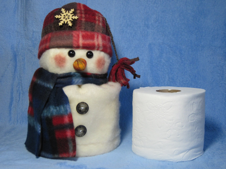 snowman pattern snowman toilet paper roll cover. Black Bedroom Furniture Sets. Home Design Ideas
