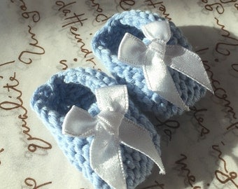 Baby shower decorations: pair of light blue mini baby shoes with white bows - decoration size - 2 inches