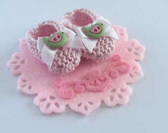 CAKE TOPPER Girl baby shower decorations:  hand knit light pink booties, bow, pink green bird buttons - 2 inches