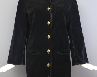 50s CLAIRE McCARDELL Townley clothes rare black corduroy COAT gold metal buttons sport vintage 50s 60s