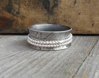 Silver Leaf Spinner Ring