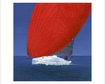 J/Boat J/88 Sailboat 6 x 6 Print by SBMathieu