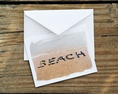 Summer Theme BEACH Cards Message in Sand Note Cards Set of 3- creative word, beach stones, beach theme cards, seashore word art, fun card