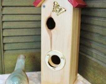 Red Roof Inn Bird House - Cedar wood bird house - Bird House