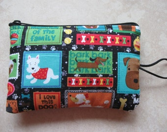 puppy dog print padded makeup jewelry bag