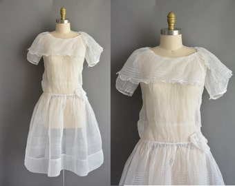 vintage 1920s dress / 20s white organdy pintuck vintage dress