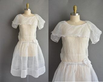vintage 1920s dress / 20s white organdy pintuck vintage dress