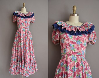 40s Donnells floral cotton vintage maxi dress / vintage 1940s dress