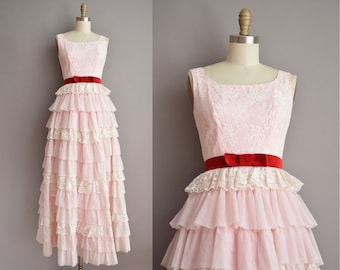 60s pink ruffle tier vintage party prom dress / vintage 1960s dress