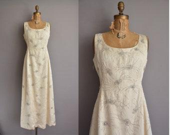 50s ivory satin heavily beaded vintage wedding dress / vintage 1950s dress