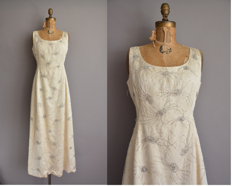 50s ivory satin heavily beaded vintage wedding dress vintage