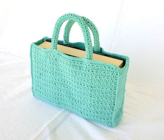 Crochet Small Tote Bag Pattern : Book tote PDF crochet PATTERN bag handles star stitch ...