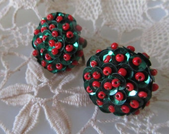Holiday Sparkle Earrings, Beads Sequins, Screw Back Vintage 50s 60s