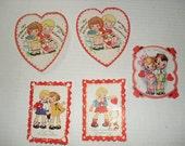 12)  Five Used Vintage Valentine Cards