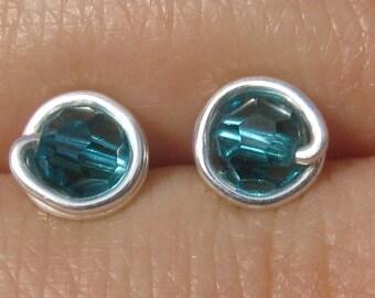Tiny Blue Zircon Stud Earrings (5mm), Swarovski Crystal Stud Earrings, Wire Wrapped Sterling Silver Stud Earrings, Teal Stud Earrings