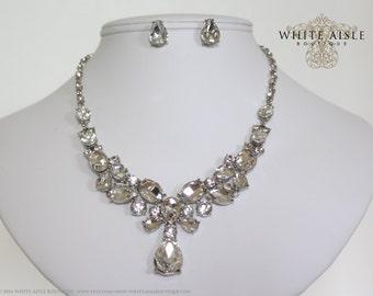 Wedding Jewelry Set, Crystal Statement Necklace, Rhinestone Necklace, Bridal Jewelry Set, Vintage Inspired Necklace