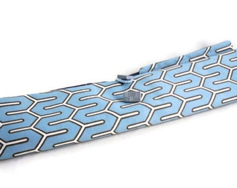 Rollup knitting needles organizer blue geometric fabric storage for knitters