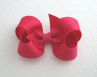 "3"" Shocking Pink Hair Bow ~ Boutique Hair Bows ~ Girls Hair Bow ~ Classic Hair Bow ~ Toddler / Baby Girl Hair Bows"