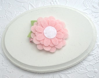 Pink Felt Flower Hair Clip, Toddler Hair Clip, Daisy Hair Clip, Hair Clips for Little Girls, Hair Flower