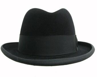 Vintage Mens Homburg Hat Dobbs Golden Coach LaSalle Genuine Fur Felt Fedora Hat Mns Size 7 1/4 Fits Size Large Made In USA