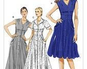 ON SALE SZ 16/18/20/22 - Vogue Dress Pattern V8577 - Misses' Flared V-Neck Shirtdress in Three Variations - Vogue Patterns