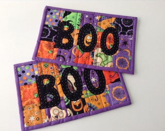 "QUILTED BOO MUGRUGS, Mini Placemats, Large Coasters, Traditional Halloween Fabrics,  6 1/2"" x 10"", Quilted Snackmat,Handmade, Ready To Ship"