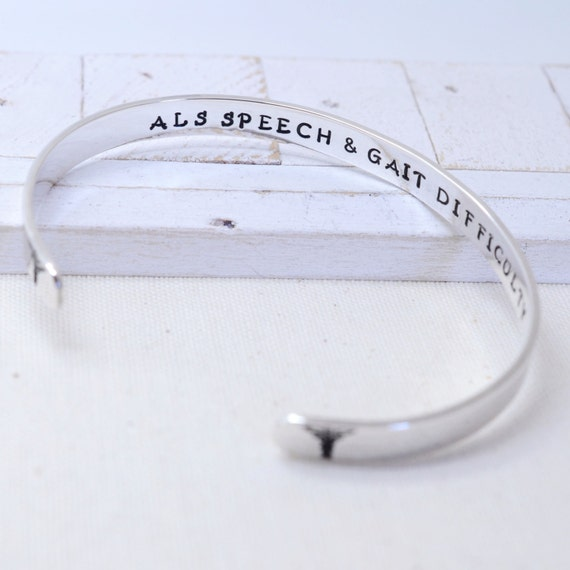 Personalized Medical Alert Bracelet - Modern Sterling Silver Cuff - Gift for Her - Medications Emergency Contact Info - ICE Health Info
