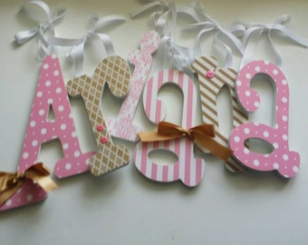 Pink And Gold Nursery Wood Letters Baby Girl Girls Bedroom Decor Custom Wooden