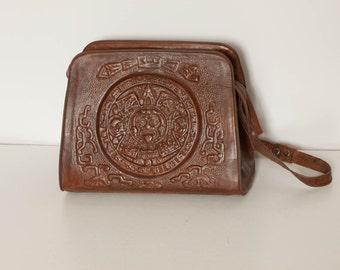 vintage 1970s tooled leather purse Aztec motif